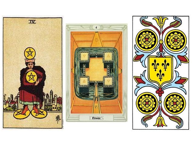 The Original Rider Waite Tarot Aleister Crowley Thoth Tarot Tarot de Marseille Grimaud first edition 1930 IV Pentacles