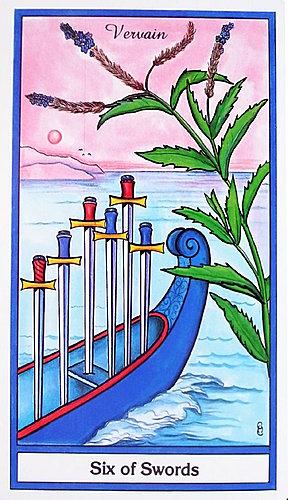 The Herbal Tarot Six of Swords