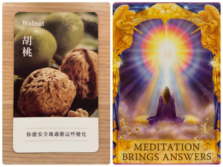 2021071901 Walnut & MEDITATION BRINGS ANSWERS Angel Answers Oracle Cards Divination by Luc